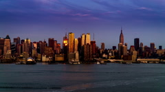 At twilight,the modern buildings in Manhattan, New York City, NY Stock Footage
