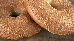 Portion of Sesame Bagels (seamless loopable; 4K) Stock Footage