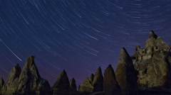 Night Mountain landscape with star trails. - stock footage