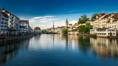 4K Timelapse of historic Zurich city center Stock Footage