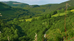 Mountain Valley View - Green Mountains with Road visible below, Snowdonia, UK Stock Footage