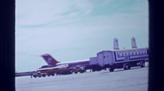 1978: Aeropuerto Internacional terminal building airplane transport vehicle. Stock Footage