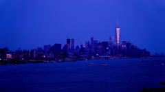 At night,the modern buildings in Manhattan, New York City, NY Stock Footage