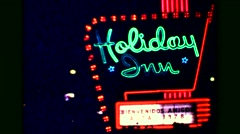 1978: Holiday Inn Vips Mexicana El Presidente entertainment show neon signs. Stock Footage