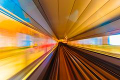 Abstraction metro subway tracks blur - stock photo