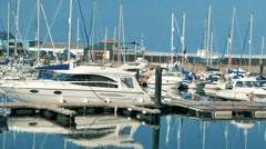 Marina full of boats, Aberystwyth, Wales Stock Footage