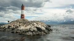 Les eclaireurs lighthouse in the Beagle Channel, Ushuaia Stock Footage