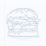 Delicious and appetizing hamburger Stock Illustration