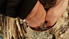 Hands Immersed in the Liquid in the Pot Top View Close-Up Stock Footage