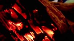 Coals Heated and Blush on a Branch Under Influence of Air Currents Close up Stock Footage