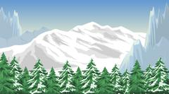 Winter mountain landscape - stock illustration