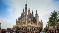 Shanghai,China-June 4,2016:Timelaspe of Shanghai Disney Castle Stock Footage