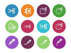 Scissors with cut lines icons - stock illustration