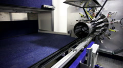 High-tech robotic line for production of metal pipes. Inside view of the complex - stock footage
