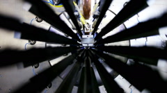 High-tech robotic line for production of metal pipes. Inside view of the complex Stock Footage
