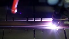 Manufacture of metal flues and ventilation systems. Laser welding of joint Stock Footage