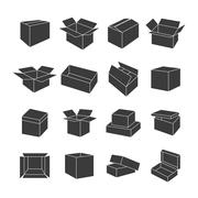 Set of icons of boxes, vector illustration. Stock Illustration