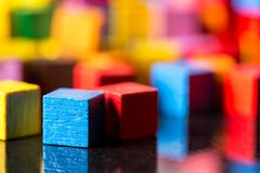Closeup, lots of colorful toy blocks Stock Photos