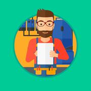 Confident plumber with clipboard - stock illustration
