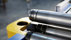 Production of metal flues. Moulding machine is giving a form to a metal sheet Stock Footage
