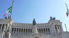 Stairs Venice Square monument Victor Emmanuel II flags Roman monument Stock Footage