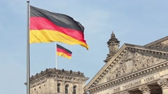 German flag - Reichstag building  Stock Footage