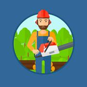 Woodcutter with chainsaw - stock illustration