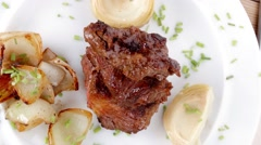 Beef bourguignon in wine with artichoke Stock Footage