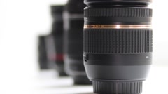Photo lenses on white background Stock Footage
