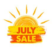 july sale with sun sign, yellow and orange drawn label. - stock illustration
