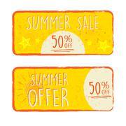 summer sale and offer labels with 50 percentages off and sun and starfish sig - stock illustration
