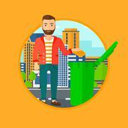 Man throwing away trash - stock illustration