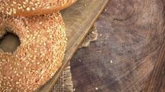 Sesame Bagels (not loopable; 4K) Stock Footage