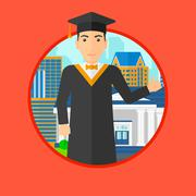 Graduate giving thumb up - stock illustration