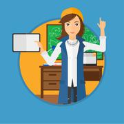 Female student using tablet computer in classroom - stock illustration