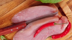 Turkey steak fillet with red hot chili pepper Stock Footage