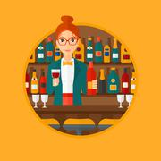 Bartender standing at the bar counter Piirros