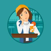 Woman drinking orange cocktail at the bar Stock Illustration