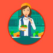 Woman eating healthy vegetable salad Stock Illustration
