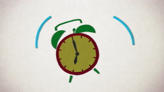 Animation of Vintage Alarm clock ringing at 7 AM. Stop motion animation. - stock footage