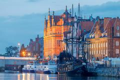 Gdansk. Central embankment at night Stock Photos