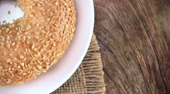 Portion of Sesame Bagels (not loopable; 4K) - stock footage