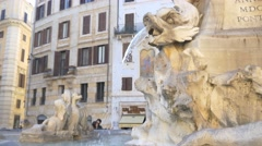Beautiful stone sculpture and statue marble fountain in rome 4k Stock Footage