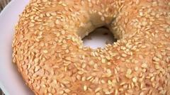 Not loopable Sesame Bagels footage (4K) Stock Footage