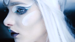 Woman with Creative Makeup Ice Blue Stock Footage
