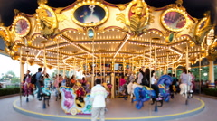Carousel in running,shot by Tilt-Shift lense.4k time lapse Stock Footage
