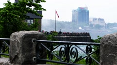 Niagara Falls area wit tourist - stock footage
