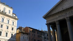The Pantheon in Rome, Ancient Roman buildings, tourist landmark in Italy Stock Footage