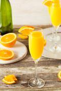 Homemade Refreshing Orange Mimosa Cocktails - stock photo