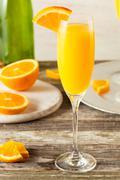 Homemade Refreshing Orange Mimosa Cocktails Stock Photos